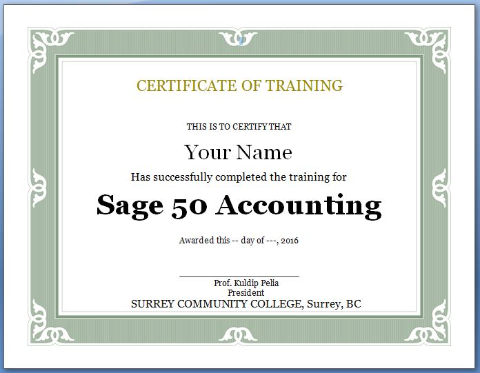 Certificate of Sage 50 Training